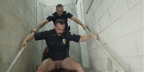Porn video of gay police men wanking Fucking the white