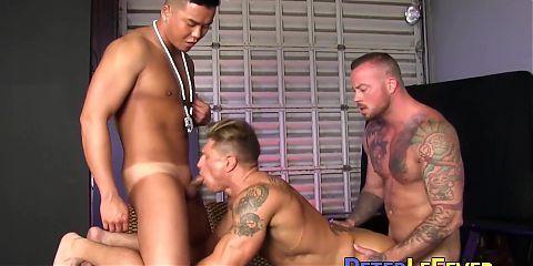 Kinky big cock Asian in a heated hardcore spitroast threeway